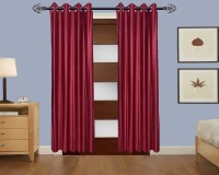 Home Fashion Gallery Polyester Maroon Plain Eyelet Door Curtain 213.36 Cm In Height, Single Curtain