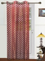 Dekor World Polyester Maroon Solid Eyelet Door Curtain 215 Cm In Height, Single Curtain