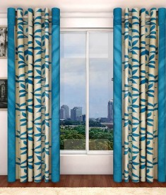Pag Polyester Blue Kolaveri Floral Eyelet Window & Door Curtain