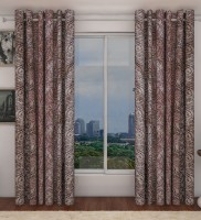 Home Candy Polyester Pink, Grey Geometric Ring Rod Door Curtain 212 Cm In Height, Pack Of 2