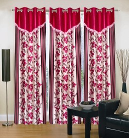 Brand Decor Polyester Multicolor Floral Eyelet Door Curtain