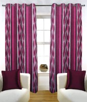 Fabutex Polyester Pink Abstract Eyelet Door Curtain 210 Cm In Height, Pack Of 2