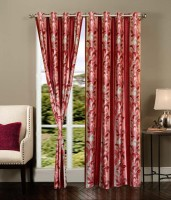 K Decor Polyester Red Printed Eyelet Door Curtain 84 Inch In Height, Single Curtain