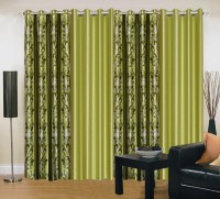 Brand Decor Polyester Green Floral Eyelet Door Curtain 214 Cm In Height, Pack Of 4