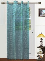 Dekor World Polyester Blue Solid Eyelet Door Curtain 215 Cm In Height, Single Curtain
