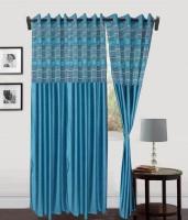 Decor Vatika Polyester Door Curtain (Single Curtain, 108 Inch/275 Cm In Height, Light Blue)