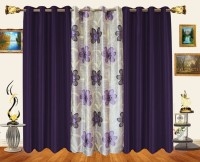 Decor Bazaar Polyester Purple Floral Window Curtain 60 Inch In Height, Pack Of 3