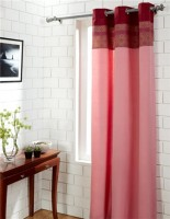 House This Cotton Red Self Design Eyelet Door Curtain 210 Cm In Height, Single Curtain