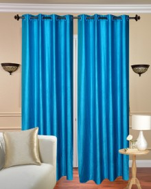 Deepanshi Handloom Polyester Blue Plain Eyelet Window & Door Curtain