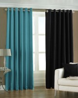 Homefab India Polyester Multicolor Solid Eyelet Window Curtain 180 Cm In Height, Pack Of 2