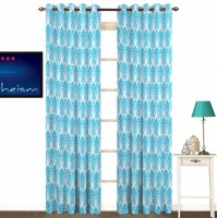 Fabutex Polyester Blue With Silver Damask Eyelet Door Curtain 213 Cm In Height, Pack Of 2