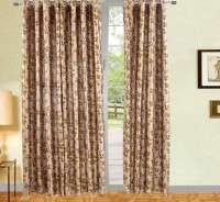 Vertex Polyester Green Floral Eyelet Door Curtain 213 Cm In Height, Pack Of 2