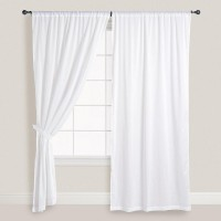 Smart Home Textile Cotton White Door Curtain 210 Cm In Height, Single Curtain