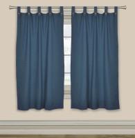 Elan Cotton Navy Blue Self Design Tab Top Window Curtain 150 Cm In Height, Single Curtain