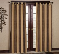 Ahmedabad Cotton Cotton Dark Brown, Light Brown Striped Tab Top Door Curtain 2.14 Cm In Height, Pack Of 2