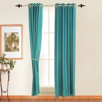 Ahmedabad Cotton Polyester Blue Door Curtain 213.36 Cm In Height, Single Curtain