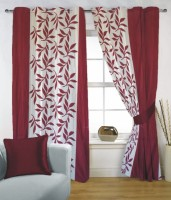 Fabutex Polyester Maroon, White Window Curtain 150 Cm In Height, Single Curtain