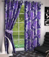 K Decor Polyester Purple Printed Eyelet Door Curtain 213 Cm In Height, Single Curtain - CRNEFF74FYFG7XBY
