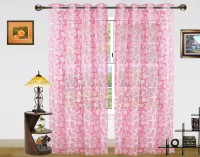 Dekor World Polyester Pink Geometric Eyelet Door Curtain 215 Cm In Height, Pack Of 2