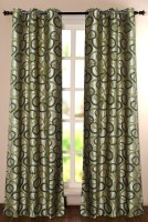 Deco Window Polyester Green Printed Eyelet Door Curtain 228.6 Inch In Height, Single Curtain
