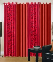 Home Fashion Gallery Polyester Red Floral Eyelet Window Curtain 152.4 Cm In Height, Pack Of 4