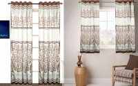 Fabutex Polyester Brown And Gold Floral Eyelet Window & Door Curtain 214 Cm In Height, Pack Of 4