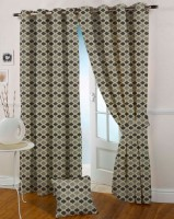 Presto Polyester Black, Grey Abstract Eyelet Curtain 270 Cm In Height, Single Curtain
