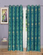 Handy Texty Handy Texty Polyester Blue Printed Eyelet Long Door Curtain