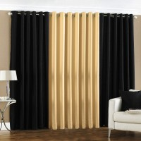 Pindia 9ft Faux Silk Plain Door Curtain (Pack Of 3)