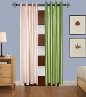 Home Fashion Gallery Polyester Beige, Green Plain Eyelet Long Door Curtain 274.32 Cm In Height, Pack Of 2