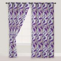 Presto Polyester Purple, Grey Door Curtain 270 Cm In Height, Single Curtain