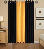 Shivamconcepts Polyester Black, Golden, Black Plain Curtain Door Curtain (213 Cm In Height, Pack Of 3)