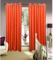 CREATOS Polyester Orange Plain Eyelet Window Curtain 152 Cm In Height, Pack Of 2