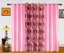 Dekor World Sprial World With Solid Window Curtain - Pack Of 3