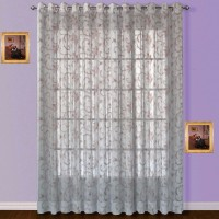 Fabutex Tissue Pink Embroidered Door Curtain 213 Cm In Height, Single Curtain