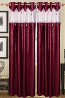 Furnishing Kingdom Polyester Maroon Abstract Window & Door Curtain 90 Inch In Height, Pack Of 2