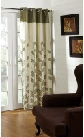 @home Polycotton Green Printed Ring Rod Long Door Curtain 213.36 Cm In Height, Single Curtain