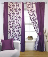 Fabutex Polyester Purple, Wite Door Curtain 210 Cm In Height, Single Curtain