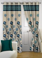 Story @ Home Jacquard Beige Floral Curtain Door Curtain 215 Cm In Height, Single Curtain