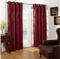 @Home Polycotton Red Printed Ring Rod Long Door Curtain 213.36 Cm In Height, Single Curtain