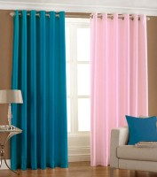 Home Fashion Gallery Polyester Blue, Pink Plain Eyelet Window Curtain 152.4 Cm In Height, Pack Of 8