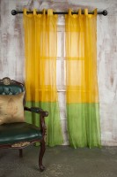 Marigold Polyester Yellow Plain Eyelet Long Door Curtain 228.6 Cm In Height, Single Curtain