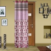 Story @ Home Jacquard Maroon Abstract Eyelet Door Curtain 215 Cm In Height, Single Curtain