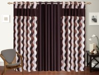 Shop 24 Decor Polyester Brown Printed Curtain Window Curtain 152 Cm In Height, Pack Of 3 - CRNEH3GU6EYAARHW