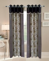 Homefab India Designer Floral Brown Window Curtain (Pack Of 2)
