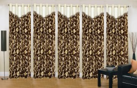Stella Creations Polyester Brown Printed Eyelet Window Curtain