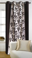 Galaxy Decorations Polyester Brown Floral Eyelet Door Curtain 84 Cm In Height, Single Curtain