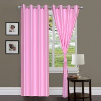 Slick Polyester Multicolour Plain Rod Pocket Window & Door Curtain 213 Cm In Height, Pack Of 2