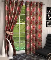 K Decor Polyester Multicolor Printed Eyelet Door Curtain 213 Cm In Height, Single Curtain