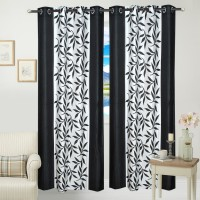JBG Home Store Polyester Black Floral Eyelet Door Curtain 84 Inch In Height, Pack Of 2